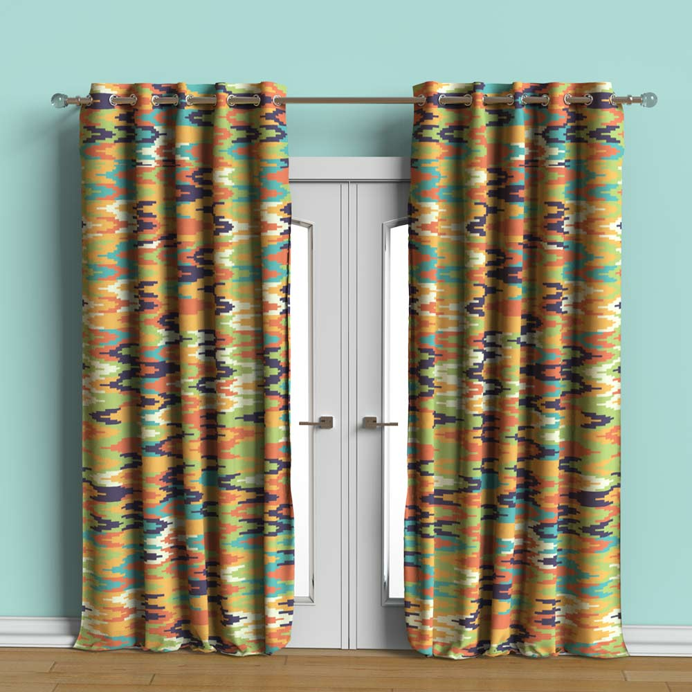 Geoikat Orange Printed curtain Set of 2
