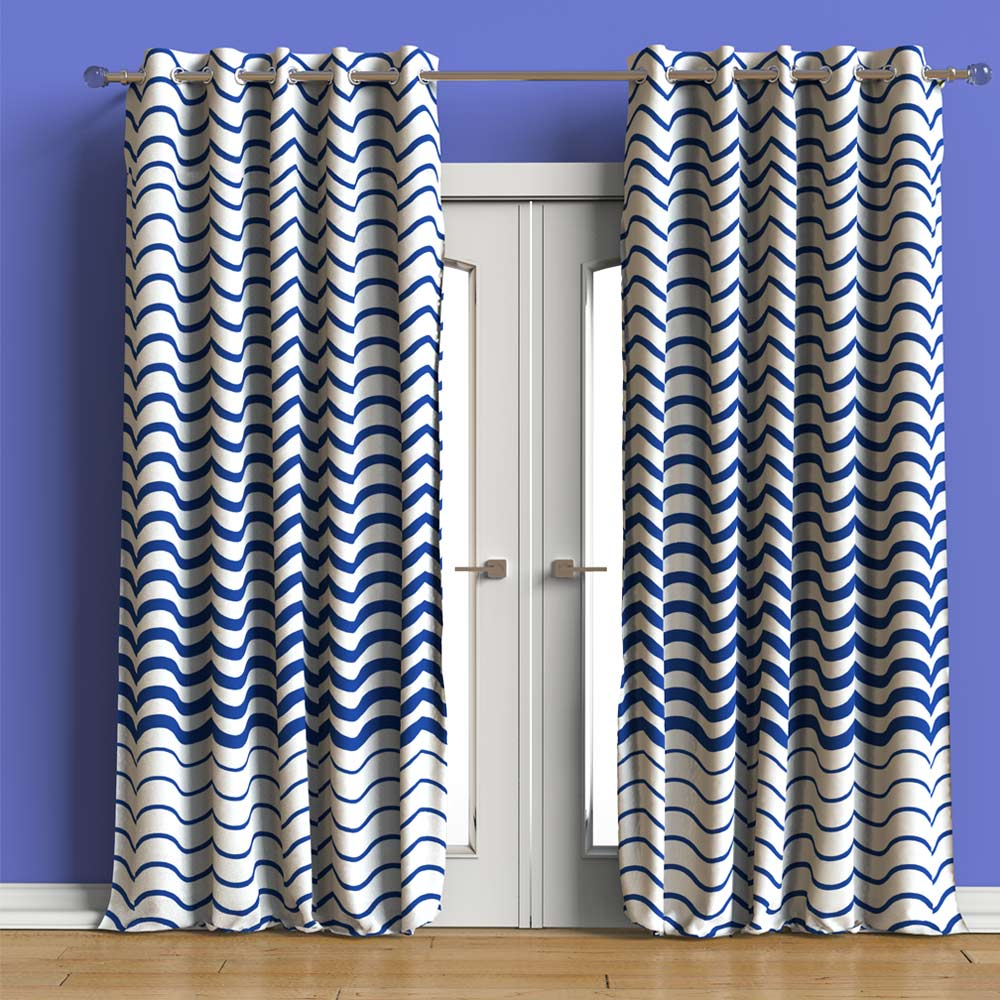 Andaman Waves Printed curtain Set of 2