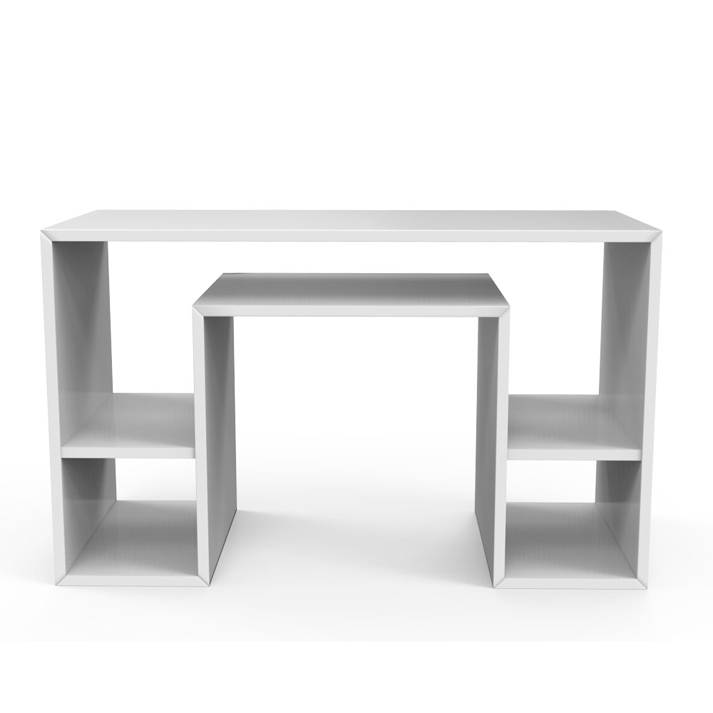Shelved Study Table - White