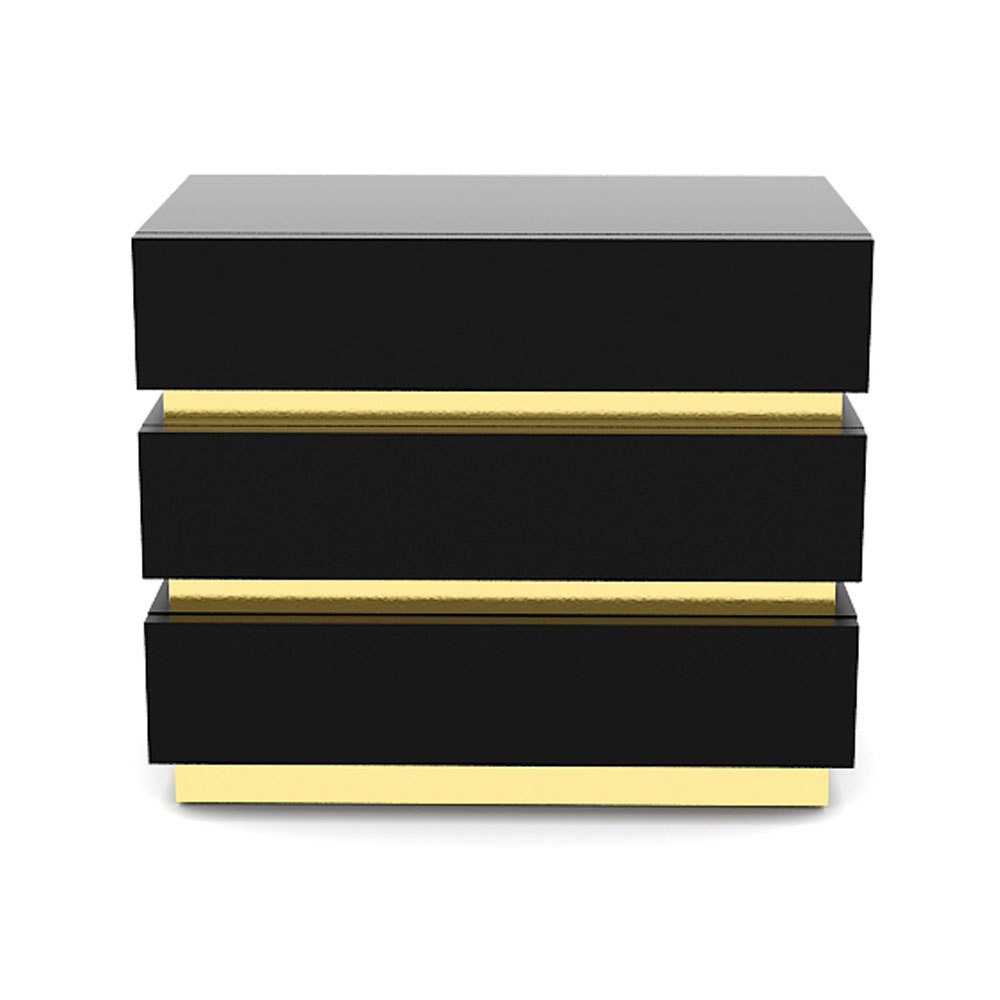GOLD BAND SIDE TABLE -  BLACK