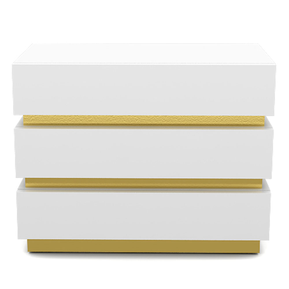 GOLD BAND SIDE TABLE - WHITE