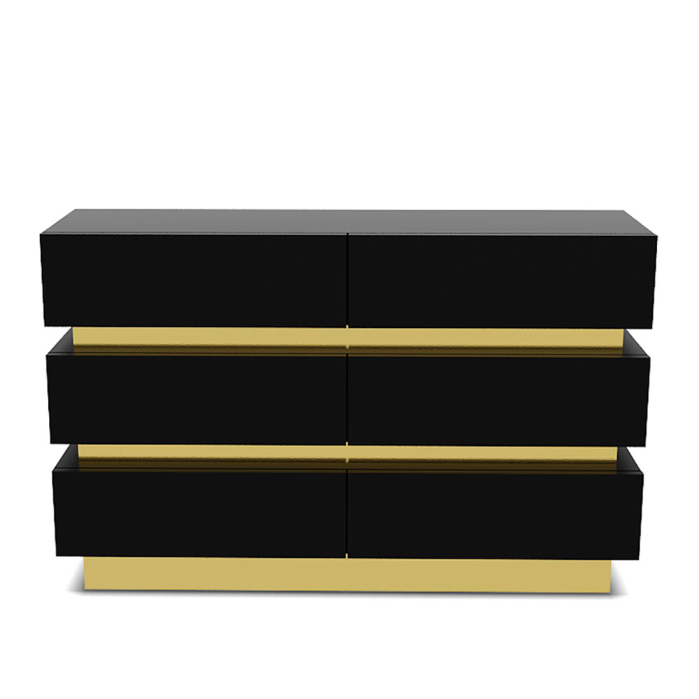 Gold band chest of drawers - Black