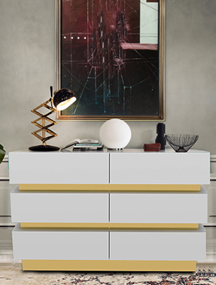 GOLD BAND CHEST OF DRAWERS - WHITE