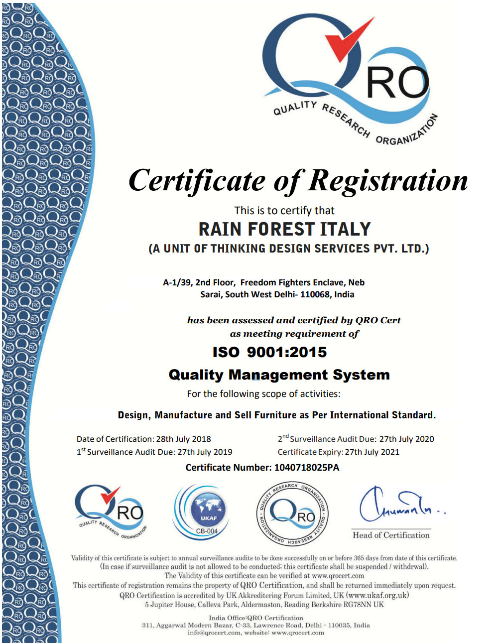Rainforest Italy | ISO Certification fo Quality Management System